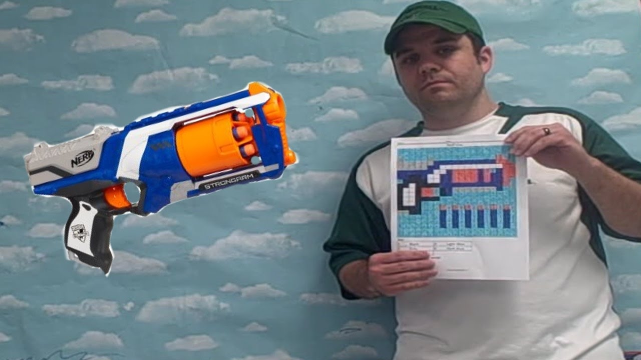 Nerf Gun Color By Number Printable Pixel Art - YouTube