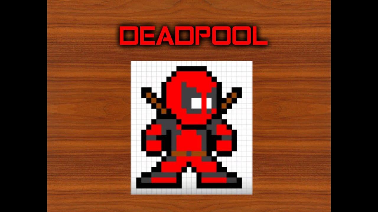 Como dibujar a Deadpool  Para Minecraft  Pixel Art  8 Bits