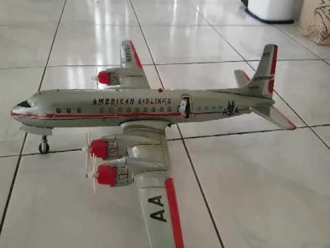RARE YONEZAWA Japan 60S Large American Airlines DC7C N4070A Airplane Tin