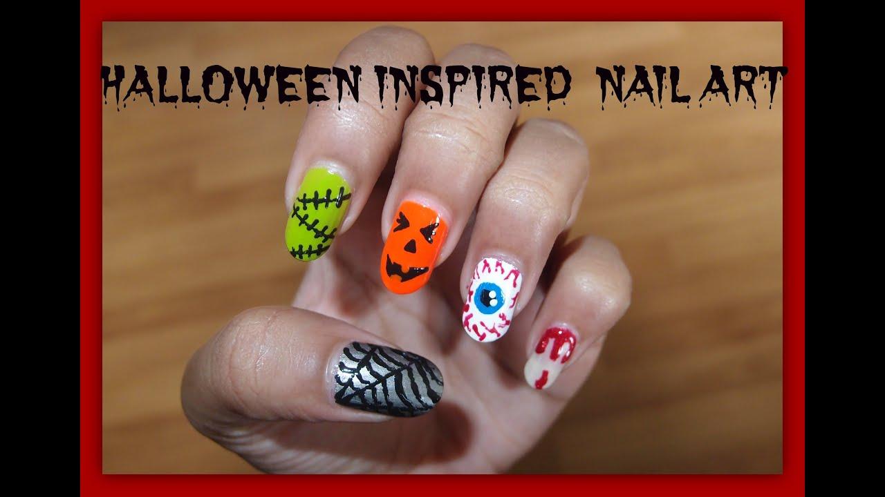 Simple Halloween Inspired Nail Art !! - YouTube