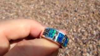 Dinosaur bone ring with lab created opal