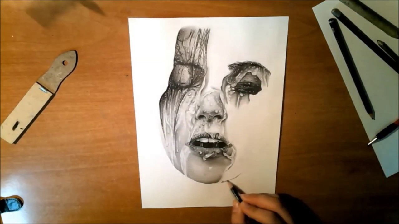 Hyper realistic pencil drawing water on face water effects time lapse achilles mant