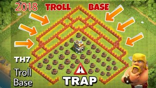 NEW | TH7 [ TROPHY + TROLL BASE - REPLAYS] ANTI 3 STAR BASE with replays 2017-18