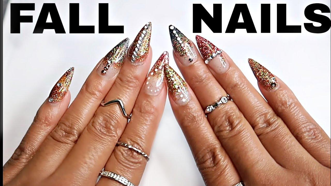 Fall Acrylic Stiletto Nails Tutorial ! 2018 - YouTube
