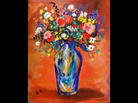Bouquet in a Persian Vase Acrylic Painting with Ginger Cook