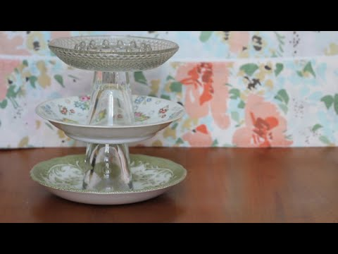 & DIY // Vintage plate jewelry stand - YouTube