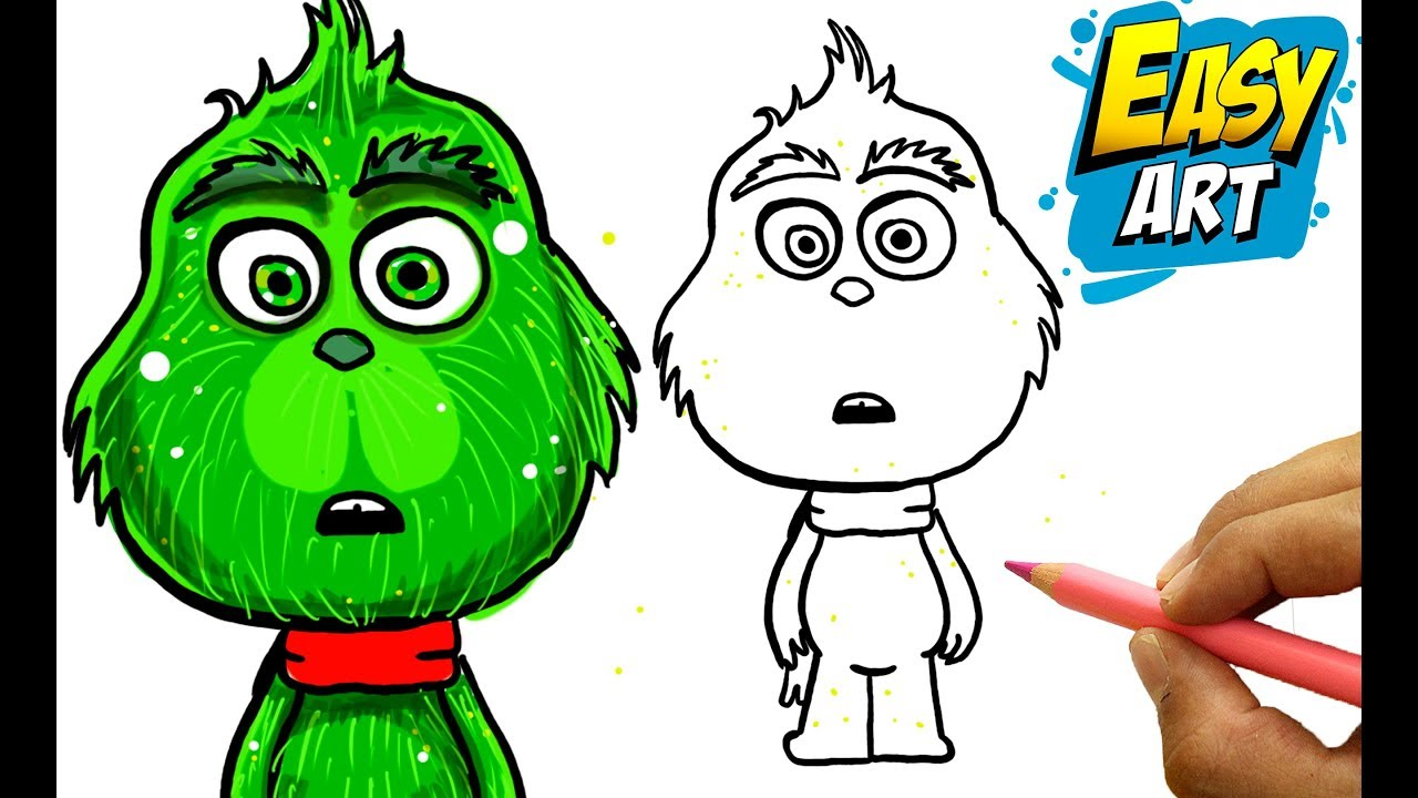 Como Dibujar El Grinch How To Draw The Grinch Easy Art For Kids