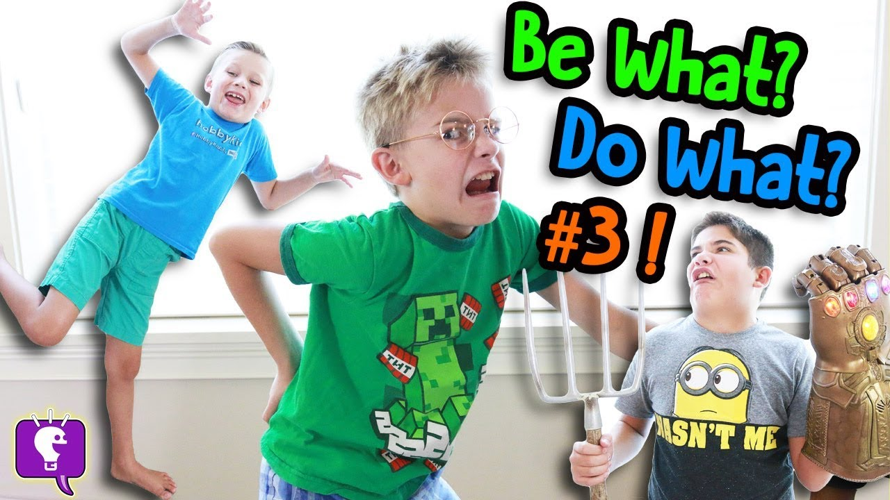 FUNNY Charades Challenge! Be What Do What #3 Pantomimes with HobbyKidsTV