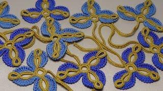 Урок вязания. Цветок трилистник. Мотив для ирландского кружева. Irish crochet.