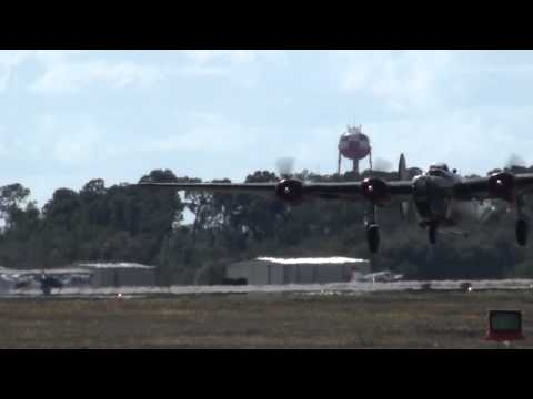 """Consolidated B-24 Liberator """"Witchcraft"""" Takes Off in Florida"""
