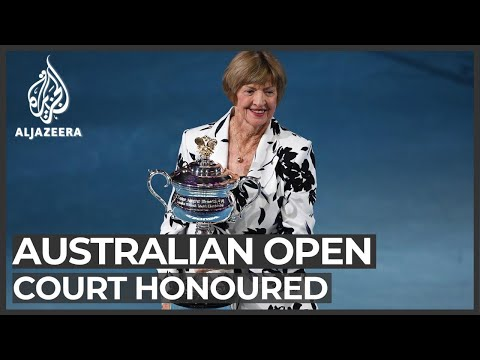 Margaret Court presented with trophy at Australian Open