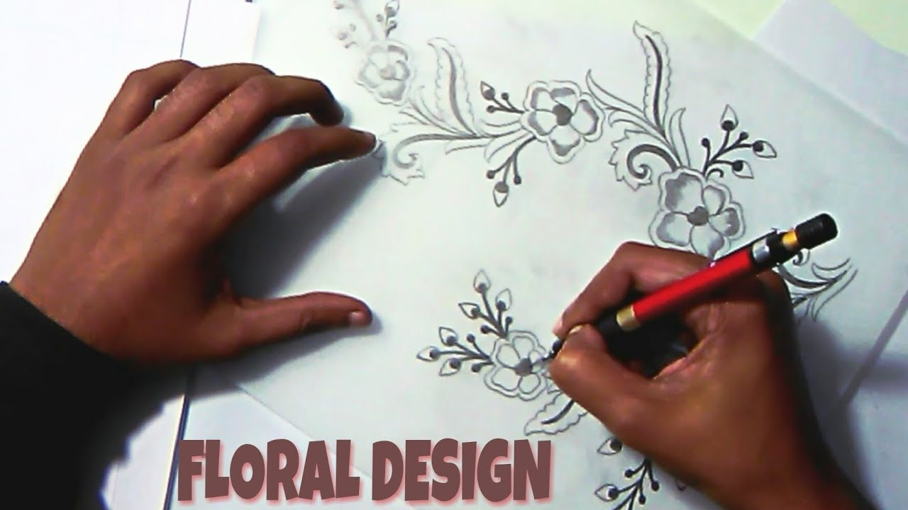 flower design drawing drawing flowers with pencil embroidery