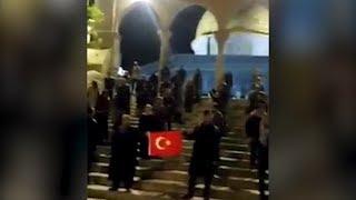 Türk öğrencilerden Mescid i Aksa'da bayraklı protesto