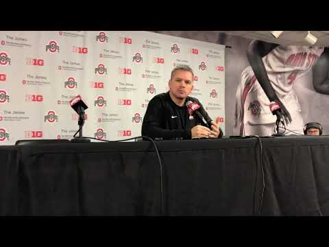 Chris Holtmann speaks before Ohio State's scrimmage against UNC Pembroke