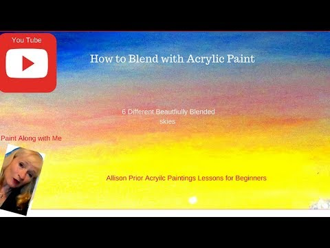 How to BLEND with Acrylic Paint, 6 different skies with , step by step, for beginners