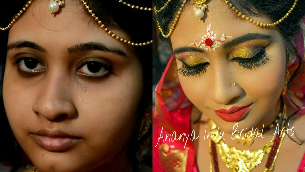 traditional bengali bridal wedding makeup tutorial