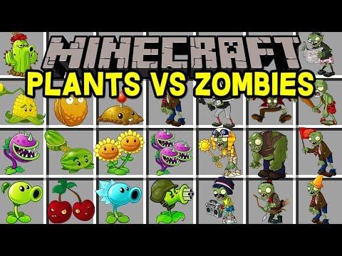 Minecraft PLANTS VS ZOMBIES MOD! | KILL ZOMBIES WITH 50+ NEW PLANTS & MORE! | Modded Mini-Game