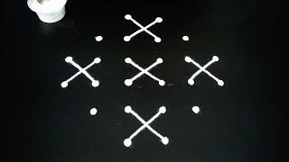 Simple rangoli designs with 6x2x2 dots   Basic Beginners kolam designs how to draw muguulu