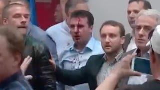 Macedonia Social Democrat Leader Beaten by Protesters