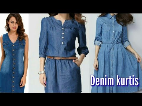 latestdenim kurti designs l trendy look l denim fashion l denims kurta