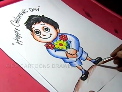 How to Draw Children s day Greeting card Drawing for kids Step By     How to Draw Children s day Greeting card Drawing for kids Step By Step   KIDS CARTOON DRAWINGS