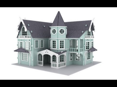 Fantasy mansion doll house 3d puzzle pattern plans laser for Fantasy house plans