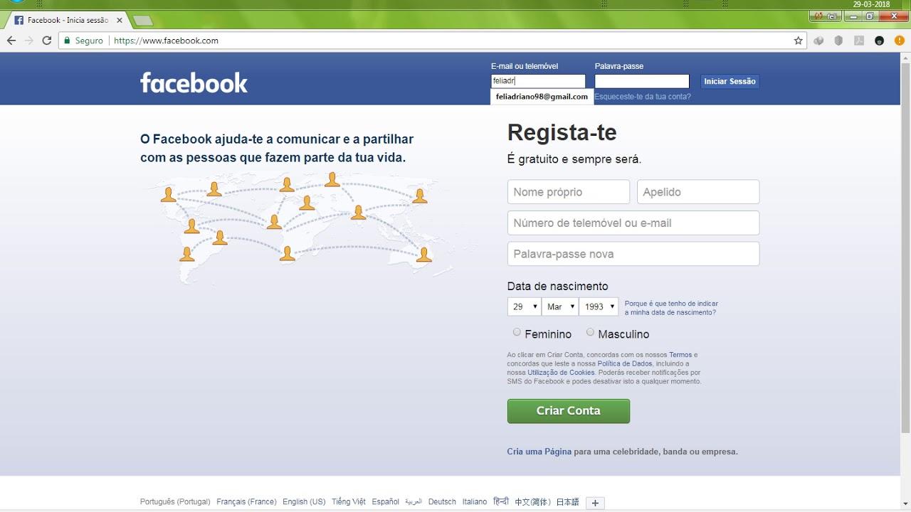 Facebook iniciar sessao