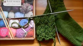 HOW TO KNIT SOCKS: Cast on/ Cuff/ V lace stitch/ Wishbone stitch  (knitting in the round)