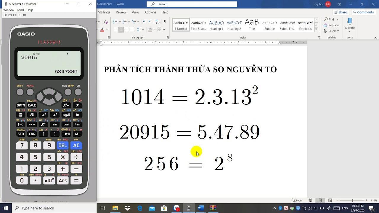 HD phân tích thành thừa số nguyên tố bằng máy Casio fx-580VNX-prime factorization by Casio fx-580VNX