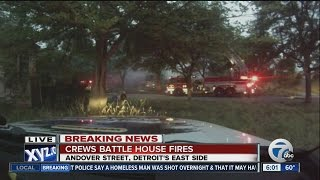 Crews battle house fires on Detroit
