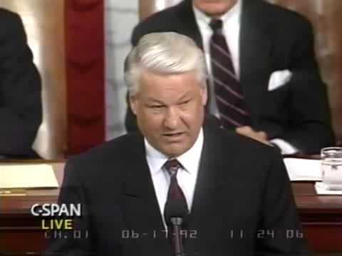 Борис Ельцин в Конгрессе США в 1992 году Cut