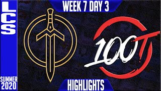 GGS vs 100 Highlights | LCS Summer 2020 W7D3 | Golden Guardians vs Hundred Thieves
