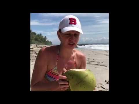 Drinking a Fresh Coconut in Montezuma, Costa Rica