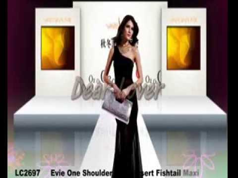 Evie One Shoulder Mesh Insert Fishtail Maxi Dress Wholesale