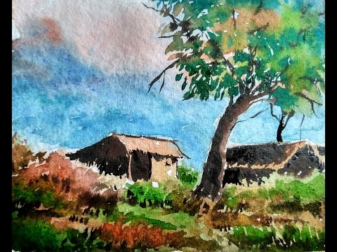LANDSCAPE WATERCOLOR PAINTING, WATERCOLOR PAINTING FOR BEGINNERS
