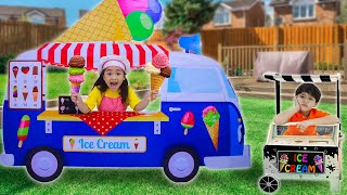 Annie and Sammy Make Ice Cream and Pretend Play Selling Ice Cream in Ice Cream Truck Toy