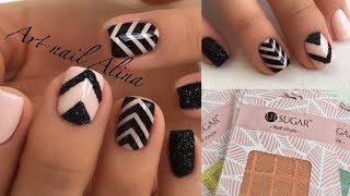 Дизайн Ногтей с Трафаретами! Маникюр с Полосками + Черный Бархатный Песок!