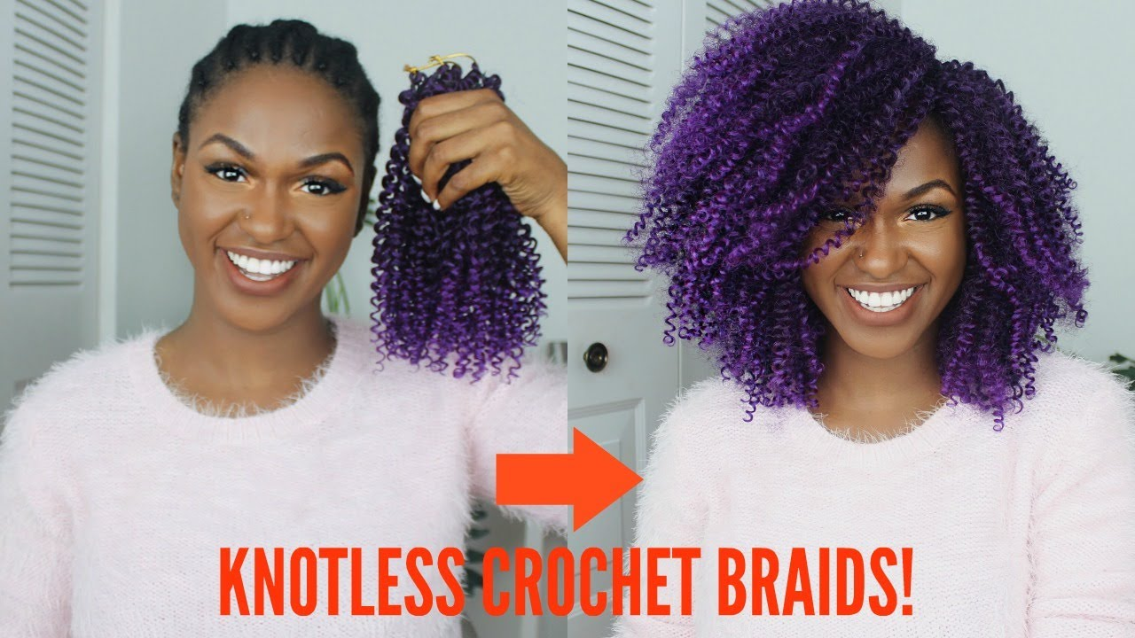 How To Natural Purple Knotless Crochet Braids Tutorial