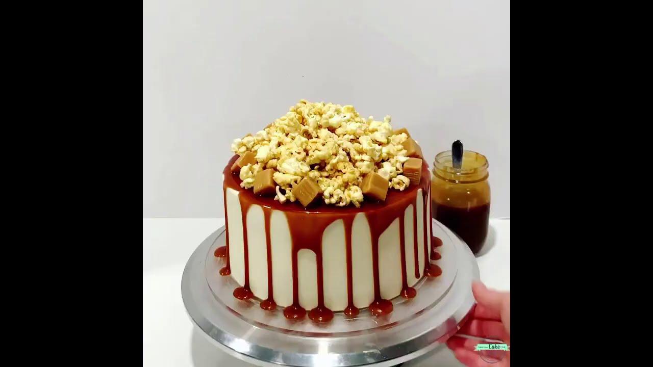 Caramel Corn Drip Cake!