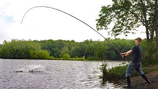 Fishing for BIG fish with 30' bamboo pole!  - pole fishing for carp