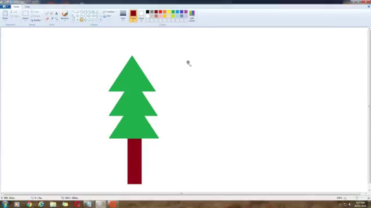 How to make an easy Christmas tree on MS paint. - YouTube