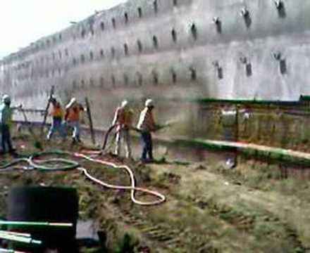 Soil nail wall concrete fill by spray youtube for Soil nail wall