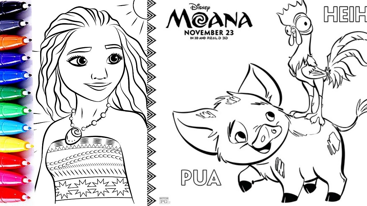 Coloring Pages Moana Princess Of Pacific Heihei Pua And Baby Video For Children Learn