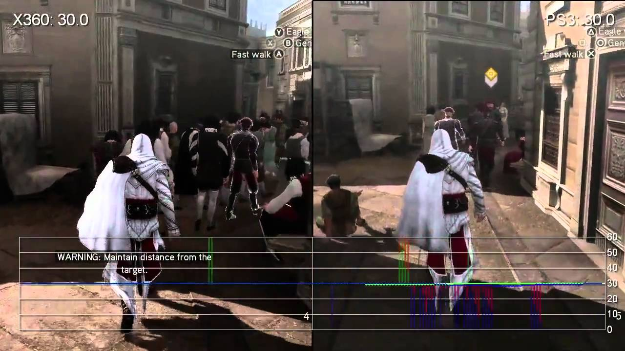 Assassin S Creed Brotherhood Ps3 360 Gameplay Frame Rate