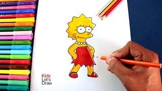 Cómo dibujar a LISA SIMPSON | How to draw Lisa Simpson - KidsLetsDraw