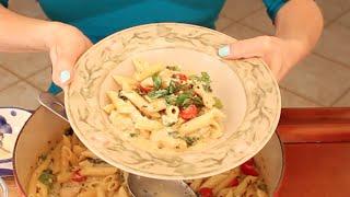 Easy One Pot Chicken Pasta Primavera Alfredo Recipe