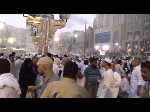 Makkah marghrib Azaan  and moon outside Khana Kaba Wall 22 March 2013 Saudi Arabia