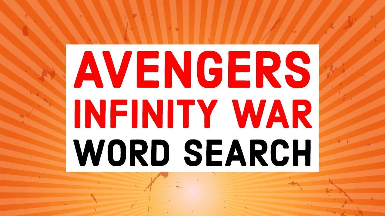 avengers infinity war word search quiz youtube