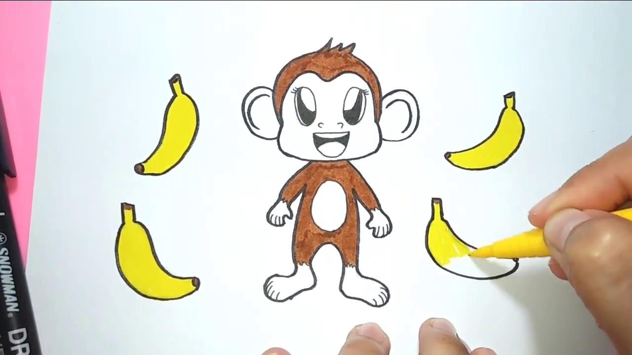 Monyet Mari Belajar Menggambar Dan Mewarnai Monyet Lucu Youtube