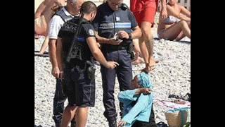 فيديو حصري هزة قلوب العرب !! الشرطة الفرنسية تجبر مسلمة على خلع الحجاب أمام الناس في نيس